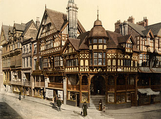 Chester - Photochrom of the Chester Rows as seen from the Cross, 1895
