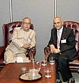 The Defence Minister Shri Pranab Mukherjee meeting with the Deputy Prime Minister and Foreign Minister of Nepal, K.P. Sharma Oli, during a bilateral meeting at the UN Headquarters in New York on September 20, 2006.jpg