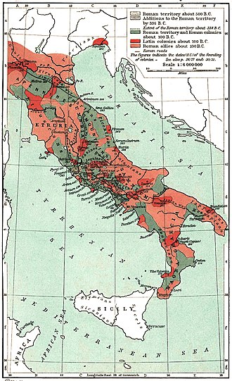 Roman army of the mid-Republic - Map of the Roman confederation in 100 BC, on the eve of the Social War. Note the patchwork political configuration. The Roman possessions (in grey-blue) straddle the strategic centre of the Italian peninsula and the Tyrrhenian coastal plain. Latin colonies (dark red) are scattered in strategic locations. Other socii (pink) are concentrated in the mountainous interior
