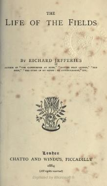 The Life of the Fields, Jefferies, 1884.djvu