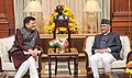 The Minister of State (Independent Charge) for Power, Coal and New and Renewable Energy, Shri Piyush Goyal calling on the Prime Minister of Nepal, Shri K.P. Sharma Oli, in New Delhi on February 22, 2016 (1).jpg