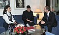 The Minister of Trade & Industry of Norway, Mr. Trond Giske calls on the Union Minister for New and Renewable Energy, Dr. Farooq Abdullah, in New Delhi on October 29, 2010.jpg