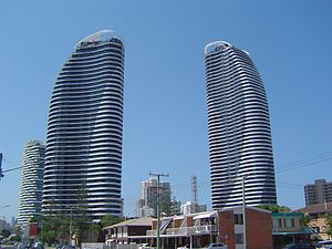 The Oracle, Queensland - The Hinterland tower on the left and the Beach tower on the right