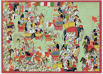 Jayadratha - Abhimanyu fights the Kauravas in the chakrayudha (left); while Jayadratha on the elephant on the right prevents the Pandavas from aiding Abhimanyu.