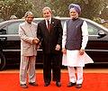 The President, Dr. A.P.J. Abdul Kalam and the Prime Minister, Dr Manmohan Singh at the ceremonial reception of the President of Brazil, Mr. Luiz Inacio Lula da Silva at Rashtrapati Bhavan in New Delhi on June 04, 2007.jpg