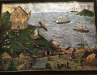 Raid on Lunenburg, Nova Scotia (1782) - American Privateers burned blockhouse (top left) and Commanding Officer John Creighton's home (bottom right), The Sacking of Lunenburg by Suzanne Conrad, Rug Hooking Museum of North America, Queensland, Nova Scotia