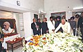 The Speaker of Lok Sabha, Shri Somnath Chatterjee laying a wreath at the mortal remains of the former Prime Minister Late Shri P.V. Narasimha Rao in New Delhi on December 23, 2004.jpg