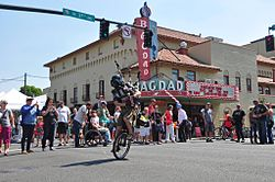 The Unipiper entertaining a crowd gathered in front of the Bagdad Theater in Portland, Oregon.jpg