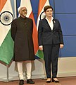 The Vice President, Shri M. Hamid Ansari and the Prime Minister of Poland, Ms. Beata Szydlo, at the signing of MoUs following delegation level talks, in Warsaw, Poland on April 27, 2017.jpg