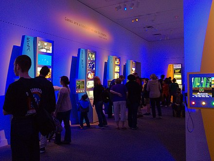 Visitors at the exhibit during its opening weekend at the Smithsonian American Art Museum The art of video games exhibition crowd.jpg