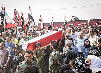 Idlib Governorate - Funeral of suicide car bombing victims, 27 April 2017. The bombing killed at least 126 civilian evacuees from al-Fu'ah and Kafriya, including at least 80 children.