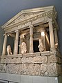 The reconstructed façade of the Nereid monument of Xanthos, British Museum, London (9500940751).jpg