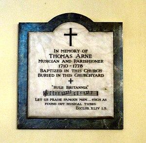 Thomas Arne - Arne's memorial plaque in St Paul's in Covent Garden