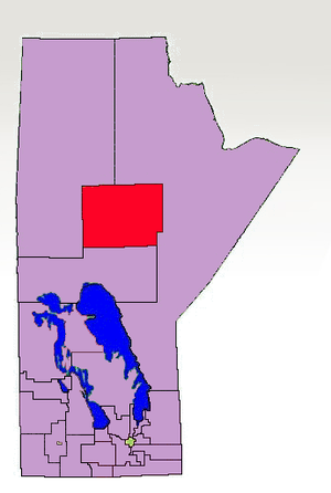 Thompson (electoral district) - The 1998-2011 boundaries for Thompson highlighted in red