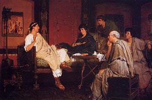 Tibullus - Lawrence Alma-Tadema, Tibullus at Delia's