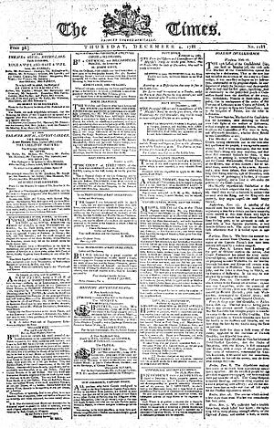 The Times - Front page of The Times from 4 December 1788