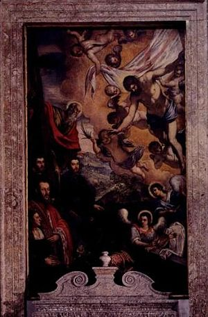 Morosini family - Risen Christ with St. Andrew and members of the Morosini family (Vincenzo, his sons Andrea and Barbon, and wife Cecilia Pisani) by Tintoretto (1518–1594), on display in the Morosini family chapel in San Giorgio Maggiore, Venice.