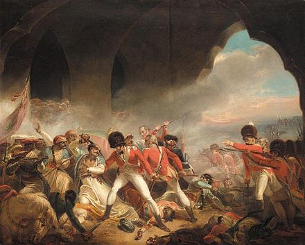 The fall of Tipu Sultan and the Sultanate of Mysore, during the Battle of Seringapatam in 1799 Tipu death.jpg