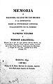 """Title page """"Memoria o Nociones, Sacadas de los Hechos...""""1835 Wellcome L0019484.jpg"""