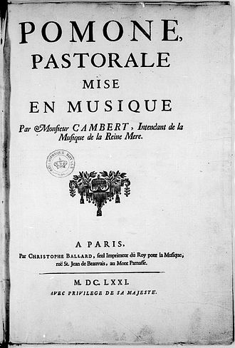 Pomone (opera) - Title page of the partial score of Pomone, published by Ballard in 1671