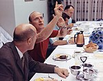 Tom Stafford (foreground), Pete Conrad, Dick Gordon, and the Flight Crew Support Team Leader at pre-launch breakfast.jpg