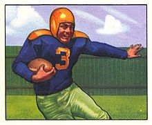 A painted portrait of Canadeo running with the ball.