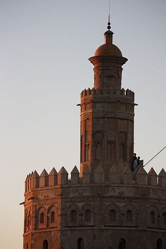 Torre del Oro - This image shows completely the levels that are not Almohads, the second and the third level.