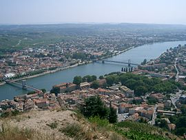 A view across the river in Tournon-sur-Rhône