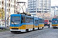Tram in Sofia near Russian monument 019.jpg