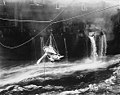Transfer of wounded from USS Bunker Hill (CV-17) to USS Wilkes-Barre (CL-103) on 11 May 1945 (520682).jpg