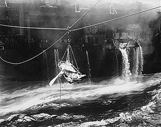 USS Bunker Hill (CV-17) - Transfer of wounded from Bunker Hill to USS ''Wilkes Barre''
