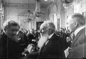 Negotiation - Signing the Treaty of Trianon on 4 June 1920. Albert Apponyi standing in the middle.