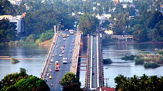 Srirangam - Bridge Connecting Trichy and Srirangam across Kaveri River