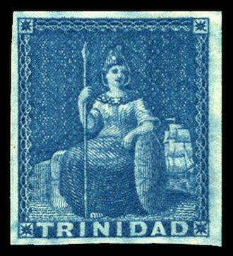 Key type stamp - An unused Trinidad key type stamp showing Britannia.