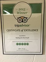 Tripadvisor 'Certificate of Excellence' award to Raiding The Rock Vault - 2015.JPG