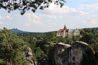 Hrubá Skála - View to Hrubá Skála Castle, with Trosky Castle in the background