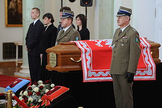 Jack of the President of the Republic of Poland - President Lech Kaczyński's coffin draped in the presidential jack while lying in state