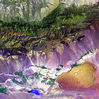 Turpan Depression - Image: Turpan Depression, nestled at the foot of China's Bogda Mountains
