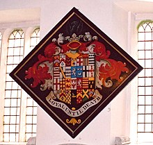 The funerary hatchment of Sir Thomas White, 2nd Baronet of Tuxford and Wallingwells (1801-1882) in Tuxford Church