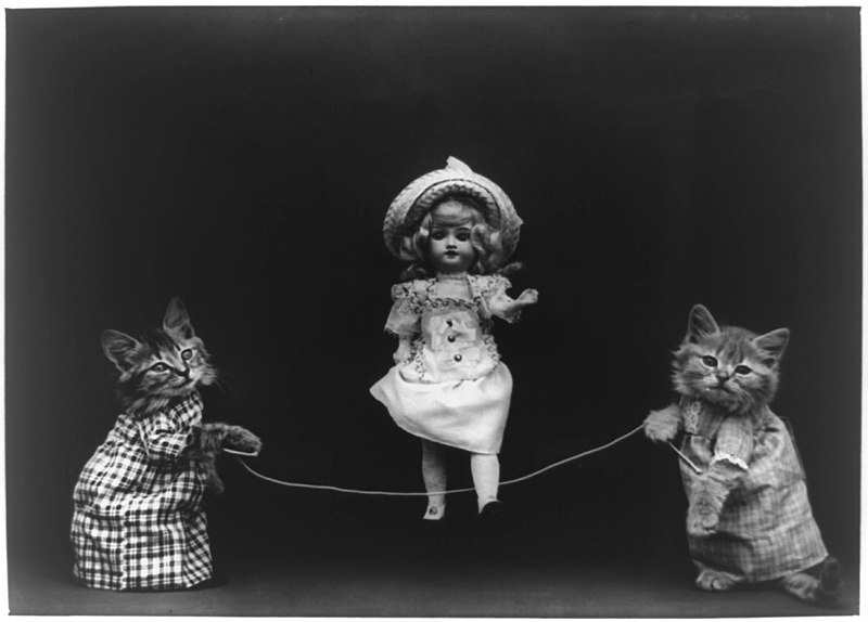 File:Two cats, dressed as humans, holding rope, which doll appears to be skipping.jpg