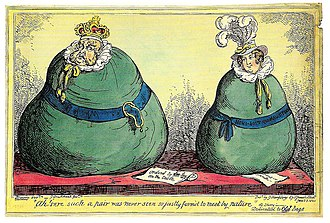Pains and Penalties Bill 1820 - In this iconic caricature, George and Caroline are depicted as a pair of fat green bags, a clear reference to the green bags that contained the evidence collected against Caroline by the Milan commission. George is much fatter than Caroline, and his bag is girded by a garter belt, part of which hangs down in the manner of a limp penis.