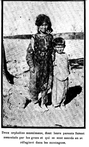 Yalova Peninsula massacres - Two little Muslim orphans whose parents were killed.