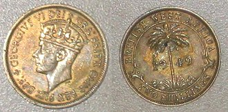 Shilling - Owing to the reach of the British Empire, the shilling was once used on every inhabited continent. This two-shilling piece was minted for British West Africa.