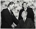 Two unidentified men and Mayor John F. Collins in Holyoke (10949813156).jpg