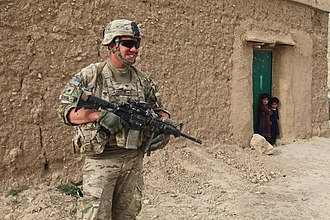 7th Infantry Regiment (United States) - U.S. Army SPC Nate Acosta, assigned to the 1st Platoon, Bravo Company, 3rd Battalion, 7th Infantry Regiment, 4th Infantry Brigade Combat Team, 3rd Infantry Division, provides security near Forward Operating Base Shank, Afghanistan.