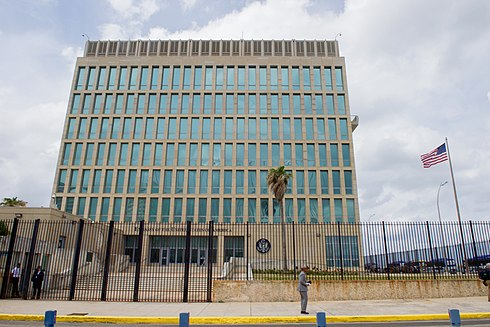 The Embassy of the United States to Cuba in Havana. U.S. Flag Flaps Outside U.S. Embassy in Havana, Cuba (25998479275).jpg