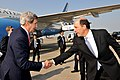 U.S. Secretary of State John Kerry bids farewell to U.S. Ambassador to Japan John Roos before departing Tokyo, Japan, on April 15, 2013.jpg