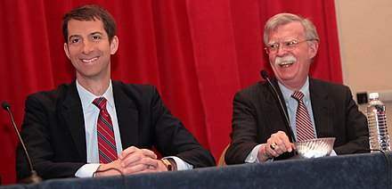Senator Cotton and former Ambassador to the United Nations John R. Bolton at the 2015 Conservative Political Action Conference (CPAC) U.S. Senator Tom Cotton and former Ambassador to the U.N. John Bolton speaking at the 2015 Conservative Political Action Conference (CPAC) in Maryland.jpg
