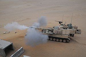 Gun laying - US Army self-propelled howitzer direct fire.