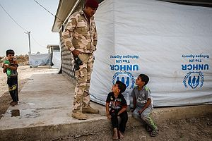 Siege of Fallujah (2016) - Image: UN refugee camp in Abu Ghraib city (2)